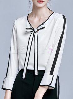 Shop Work Color Blocking Bowknot Flare Sleeve Blouse at EZPOPSY. Muslim Fashion, Hijab Fashion, Fashion Outfits, Blouse Styles, Blouse Designs, Latest Fashion For Women, Womens Fashion, Dressy Outfits, White Fashion