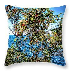 """Foliage on Lake Ontario Throw Pillow 14"""" x 14"""""""