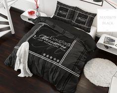 Posteľné obliečky na posteľ z mikrovlákna v čiernej farbe s nápisom
