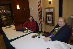 Jacque and Liz at the registration desk — at DoubleTree by Hilton Fort Lee.