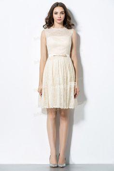 sleeveless illusion neck cream lace overlay a-line short bridesmaid dress