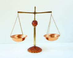 Vintage Copper Scale Balance- Princess House- Brass & Amber Glass