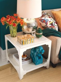 BOHO styled end table.    Find out what type of home decor style you have by taking our Stylescope quiz. Click here!