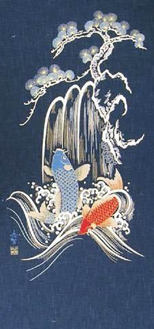 JAPANESE Noren Curtain NEW KIMONO KOI FISH GOLD MADE IN JAPAN