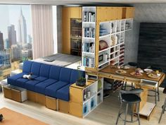 10 pieces of transforming furniture pieces perfect for tiny apartments and small spaces. One Room Apartment, Apartment Layout, Apartment Design, Apartment Living, Apartment Ideas, Apartment Furniture, Apartment Interior, Cosy Apartment, Apartment Checklist