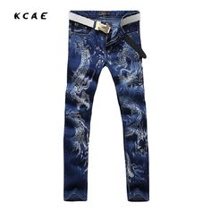 aa7ac33de59 2016 New Blue Jeans Men s Cotton Dragon Pattern Designer Mens Printed Jeans  pants Slim Fit Denim trousers Male Size 28 38-in Jeans from Men s Clothing  ...