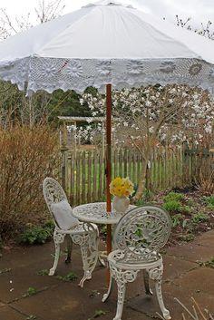 sew crocheted trim to an umbrella ♥  SHaBBy W*H*I*T*E