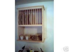 "$130  25x10Dx22.5w 10""shelfWOOD UNFINISHED PLATE RACK Dish Kitchen cabinet W/SHELF cup glasses pottery in Home & Garden, Home Décor, Plate Racks & Hangers 