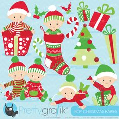 Boy Christmas babies Clipart - great for event and invitation creations.