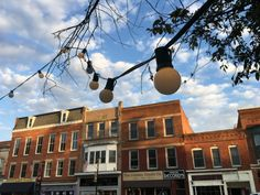 String lights in downtown historic Oberlin, Ohio