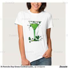 St Patricks Day Green Cocktail Ladies White T Shirt