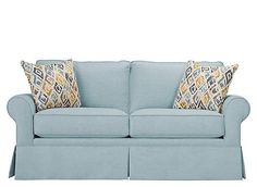 Indulge in blue sky thinking with the Lundie loveseat and the limitless possibilities it brings to your home. Its classic details—rolled arms, pleated skirts, elegant piping—are always in style, yet there's a bold, fresh edge to the Indonesian-inspired throw pillows. Depending on the setting and decor, Lundie's look can transition from carefree to refined, and the sky color creates a sense of relaxation and ease.