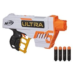 Experience Nerf Ultra blasters -- the ultimate in Nerf dart blasting! Nerf Ultra blasters have advanced design and performance to deliver extreme distance, accuracy, and speed. They include ground-breaking Nerf Ultra darts -- the farthest flying Nerf darts EVER, featuring an innovative flight tip, Aerofin technology, and Nerf Ultra foam. Take your game to the next level with Nerf Ultra blasters and darts! Nerf Ultra blasters work only with Nerf Ultra darts. The Nerf Ultra Five blaster features a Nerf Games, Nerf Toys, Cool Things To Buy, Things To Come, How Its Going, Toy R, Gift Finder, Entertaining, Nerf Gun