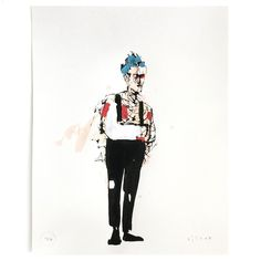 "Anthony Lister ""Broke Arm Punk"", 2016 4C screen print / blue, red, white painted by hand on Munken Pure Paper, 300g/m2, 40*50cm, ed.: 36  Australian born artist Anthony Lister helped pioneer the stencil and street art movement in Australia before moving to New York in 2003. In addition to a strong background in street art he employs a sophisticated, fine art, painterly style. High and low... St Sebastian, White Paints, Screen Printing, Red And White, Street Art, Arms, Punk, Pure Products, Fine Art"