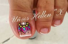 Resultado de imagen para pedicura con diseño #manicures #manicures #mandalas Toenail Art Designs, Pedicure Designs, Manicure E Pedicure, Toe Nail Designs, Fancy Nails, Love Nails, Pretty Nails, Feet Nails, Finger