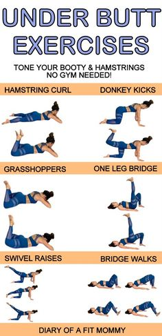 Lift and perk up your booty with these 6 exercises you can do at home-no gym or equipment needed. This workout will help you reduce the fat between your glutes and hamstrings to add more shape to the bottom of your butt! workout at home no equipment Workout Hiit, Mommy Workout, Workout Challenge, At Home Hamstring Workout, Workout Dumbell, Bubble Butt Workout, Training Fitness, Fitness Workouts, Strength Training
