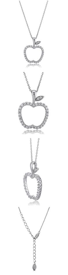 Sterling Silver CZ Apple Fashion Necklace