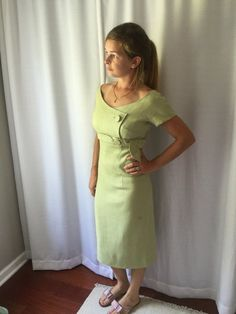 1950's Dress 50's Sage green Linen Summer by ElizabethJeanVintage
