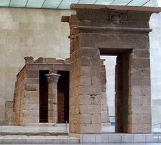 Egyptian Temple of Dendur in Metropolitan Museum of Art, New York. Early Roman Period (built during Augustus' reign 30BC - 14AD)