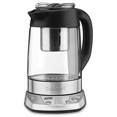 Cuisinart PerfecTemp Tea Steeper & Kettle – Programmable  Tea is a matter of taste, and this innovative programmable tea steeper/kettle lets tea lovers call the shots. This versatile unit features 6 preset water temperatures to ensure each variety of tea steeps at the proper temperature. A countdown steeping timer can be adjusted to increase or decrease steeping time according to taste. A keep warm option maintains the set temperature for 30 minutes. Remove the stainless tea infuser ..