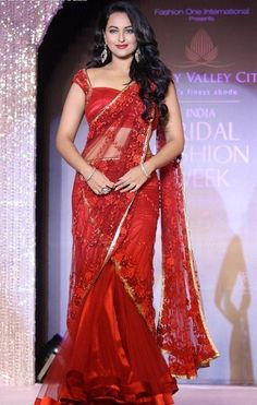Sonakshi in Red Lehenga Saree at Glitter Designz. color: Red, category: Bollywood Sarees,  fabric: Net, occasion: Party Wear, price: $ 85, item code: GBC2184, brand: Glitter Designz