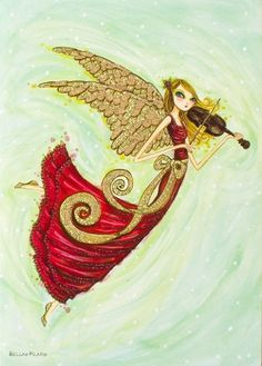 Angel with Violin - by Bella Pilar