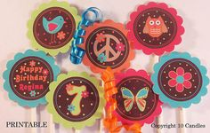 Peace Sign  Hippie Chic  DIY You Print Party Circles  by 10candles, $12.00