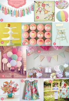 First Birthday Inspiration Board by Visual Vocabulary, via Flickr - Even though I'll probably never throw a party, love this picture frame idea at number 13.