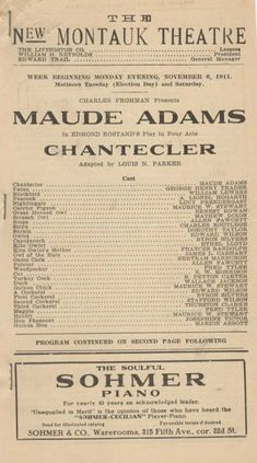 *GREAT ACTRESS MAUDE ADAMS RARE 1911 CHANTECLER PROGRAM CHARLES FROHMAN* | eBay