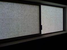 Fabric-covered windows.