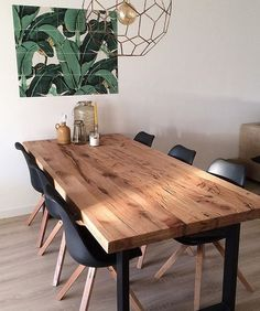 29 Most Popular Kitchen Decoration Ideas 2019 Dining Room Lamps, Dining Table Lighting, Dining Room Design, Living Room Decor, Chairs For Dining Table, Wooden Dining Tables, Modern Rustic Dining Table, Dining Table In Living Room, Contemporary Dining Table