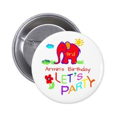 Elephant Child's Drawing Name & Age Birthday Pinback Button