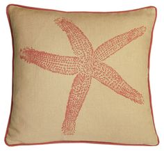 starfish linen pillow by kevin o'brien