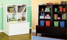 Storage idea for play room.  Walmart Baby Mod Storage $149.00/Land of Nod Single Cube Storage Base & Hutch $458.00