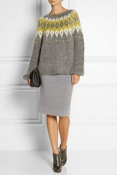 DAY Birger et Mikkelsen - Embellished mohair-blend sweater Fair Isle Knitting, Hand Knitting, Icelandic Sweaters, Knitwear Fashion, Looks Chic, Mode Inspiration, Knit Crochet, Knitting Patterns, My Style