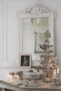 French Nordic Christmas decorations in silver and white. It's classy and French Country, love it.