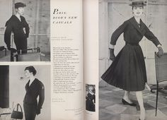 "Spring 1954 - ""What do they do for relaxation, Dior's new clothes? They just take everything a lot easier now. Jackets are shorter, more lenient; many are bloused. Skirts, even the straight ones, are far more livable. This is something of a millennium, this much ease from Dior. But one thing's sure: It's easier said than done."""