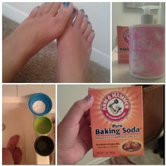DIY foot scrub. Sugar,  Honey, Olive oil. Fill bath with warm water and Baking soda. Let feet soak, put olive oil first. Then scrub with sugar. After put honey all over foot and let sit in water. After dry and apply favorite lotion. Enjoy! Great for summer.