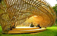 Architecture students from McGill University have finally completed ContemPLAY - a twisted pavilion in Montreal