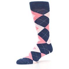7d325a26fdf0 Flamingo Petal Pink Navy Argyle Wedding Groomsmen Men's Dress Socks -  Statement Sockwear