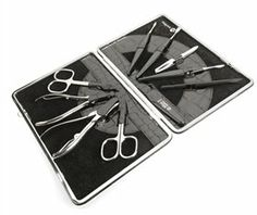 Luxury KROKO Womens Manicure Set in Black Leather Case. Made by Niegeloh in Germany by Niegeloh. $9999.00. Solingen, Germany. Warranty: Lifetime Warranty*Material: High Carbon SteelFinish: Nickel Plated# of pieces: 10Case InformationColor: BlackMaterial: LeatherWidth: 5.12 inchLength: 7.87 inch