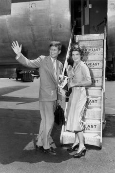 June 26, 1953.  Jackie Kennedy with John F. Kennedy at LaGuardia Airport in New York City.