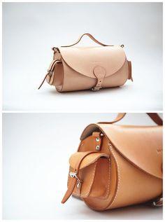 Handstitched vintage minimalist leather messenger MXS by QQBoutique, £118.00
