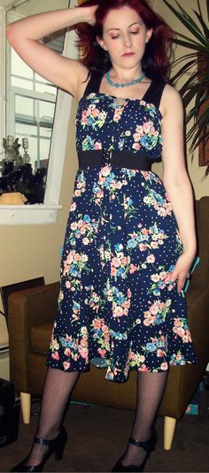 Craft, Thrift, or Die: I'm only wearing it ironically: flowery refashions, part 2. thrift store skirt as dress