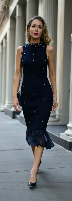 30 DRESSES IN 30 DAYS: Hanukkah //  Navy ribbed midi sweater dress with pearl and crystal embellishments, classic black pumps and a black crossbody bag {Jonathan Simkhai, what to wear on Hanukkah, Hanukkah 2017, festive style, fall fashion, sweater dress, midi dress, fashion blogger, Hanukkah dress}