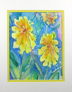 "Abstract Watercolor ""Daisy Doozies"" by pattysgardenstudio"