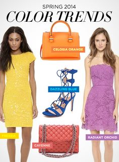 Fashion: Spring 2014 Color Trends - yellow dress. make it! and sparkle.. ! with (those) blue colored strappy heels!