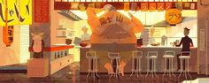 Big Hero 6 Early Concept Art by Kevin Dart - Animation, Movie Art Disney Character Drawings, Disney Drawings, Big Hero 6, Storyboard, Layout, Kevin Dart, Inspirational Backgrounds, Bg Design, Disney Concept Art