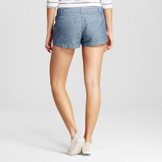 Women's 3 Chino Shorts Chambray 2- Merona, Size: 2, Blue