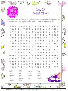 Free printable ballet word search from www.dolldiaries.com